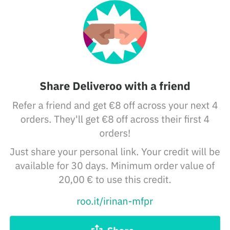 Deliveroo refer a friend program